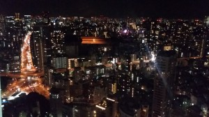 A night view of Azabujuban from Tokyo Tower. This was the place we lived in and called home while in Tokyo. The Sanuki Club is somewhere amongst these buildings. To the left, you can see a 大 at the intersection. I wonder if that was intentional. ~ Donald Swen
