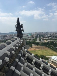 Himeji Shachi: The view from the top of Himeji Castle. The statue is a shachi, placed here as a charm for preventing fire. - Youssef Tobah
