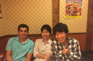 Welcome Party: From left to right, me, Komatsu-san, and Sugawara-san at the welcome party the lab held for me (on my second week, since Otsuji-sensei was out during week one). - Youssef Tobah