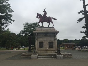 I saw the site of Aoba Castle in Sendai on Saturday, and while there is no longer a castle here, there was this nice statue of Date Masamune, the founder of Sendai. ~ Youssef Tobah