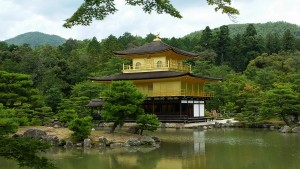"""Kinkakuji: There are many beautiful sights in Kyoto, but not many are as remarkable as this one. This building is known as the """"Golden Pavilion"""" (for obvious reasons). Built by a shogun, each floor represents a different style of architecture. ~ Nickolas Walling"""