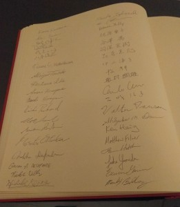 U.S. Embassy Guest Book: Our names in the guest book!