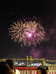 Sumidakawa Hanabi: Nick and I made it to see hanabi on Saturday. It was incredible! And I managed to find a Pikachu while playing Pokemon Go when we were waiting. ~ Sasha Yamada