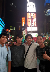 With colleague participants in Time square in NY. ~ Nobuyoshi Hiramatsu