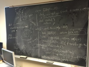 Discussion on the blackboard with my mentor, Caleb. ~ Takuya Kurihana