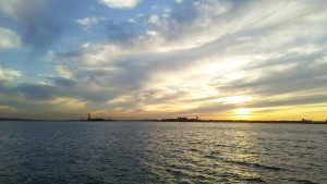Statue of Liberty. There were lots of travelers watching the sunset with me. ~ Soya Miyoshi