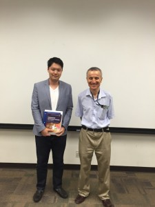 "With Dr. Tezduyar after his classes ""Fluid Dynamics"" and ""Computational Fluid Dynamics"". Very interesting class it is and I am so glad to attend it! ~ Tatusya Tanaka"