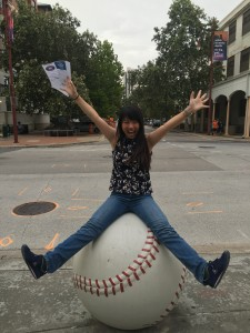 In front of the Minute Maid Park. Before the Houston Astro's baseball game. ~ Yunong Wang
