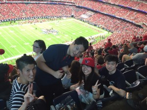 At the NRG stadium--- I am a big fan of rugby, but now I am crazy about American football. ~ Yunong Wang