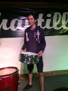 My friend Paul preparing drums for his show. He is a very talented, awesome person. ~ Ayaka Yoshida