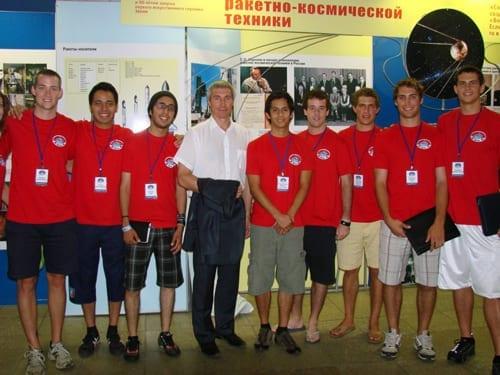 U.S. student interns with cosmonaut Sergie Krikalev in July 2011