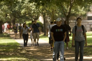 Students walk across campus - Rice University Jeff Fitlow.