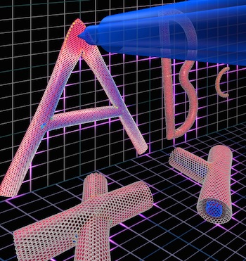 "Rice University scientists used a picoindenter to measure the stiffness of junctions in a nanotube ""alphabet."" They determined its letters handle strain to varying degrees depending on their form. The image shows a few carbon ""nano letters"" created by graduate student Yang Yang."