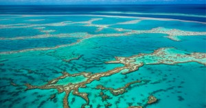 Great Barrier Reef from above.