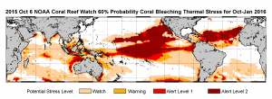 "Figure 3. ""NOAA's standard 4-month bleaching outlook shows a threat of bleaching continuing in the Caribbean, Hawaii and Kiribati, and potentially expanding into the Republic of the Marshall Islands."" (3)"