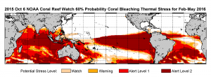 "Figure 4. ""An extended bleaching outlook showing the threat of bleaching expected in Kiribati, Galapagos Islands, the South Pacific, especially east of the dateline and perhaps affecting Polynesia, and most coral reef regions in the Indian Ocean."" (3)"