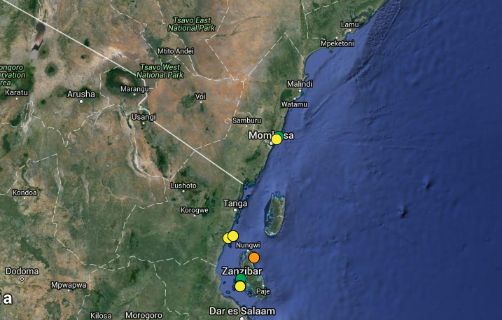 Bleaching observations as of Jan 1st, 2016. Yellow indicates low bleaching, orange indicates medium, and green indicates none. One low severity bleaching observation was reported off Mombasa on March 2nd 2016 by Jennifer O'Leary [2]