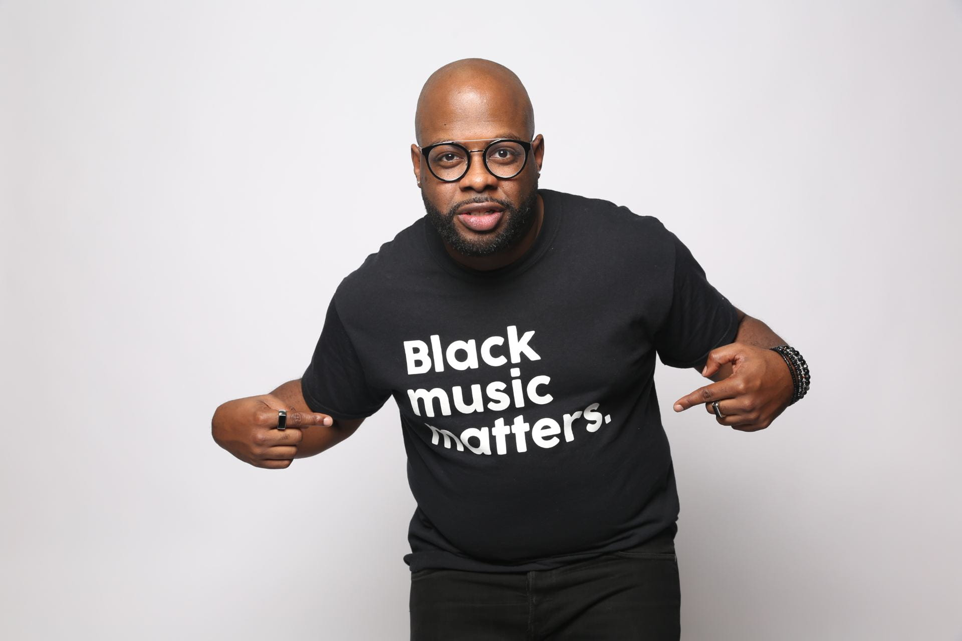 Picture of Adrian Dunn and Black Music Matters shirt