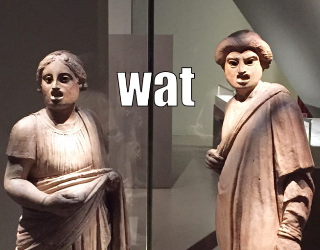 Confused statues