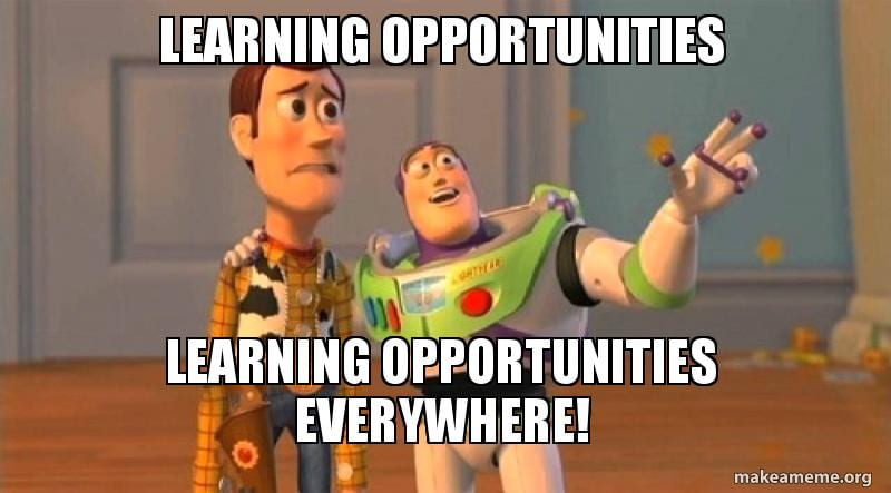 Buzz Lightyear showing Woody all of the learning opportunities in the world.