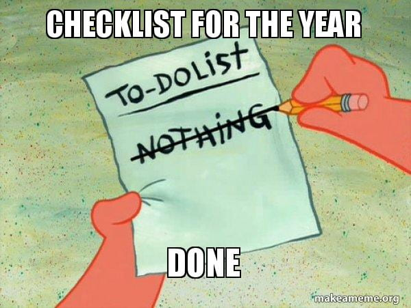 Patrick Star crossing off his To-Do's