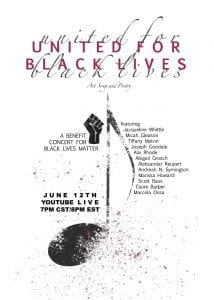 """United for Black Lives"" benefit concert poster"