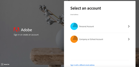 """select an account"" screen"