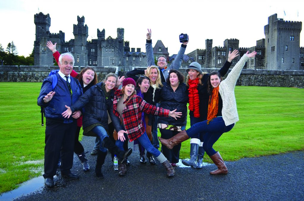 The Family Travel with Colleen Kelly crew hams it up at Ashford Castle in County Mayo, Ireland. Kelly's program is expected to start airing internationally this summer.