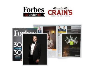 Roosevelt alums Justin Rolls and Jonas Falk were named to Crain's Chicago Business 40 under 40 list in 2013. Their work in growing OrganicLife also has been recognized by Forbes and Enterprise.