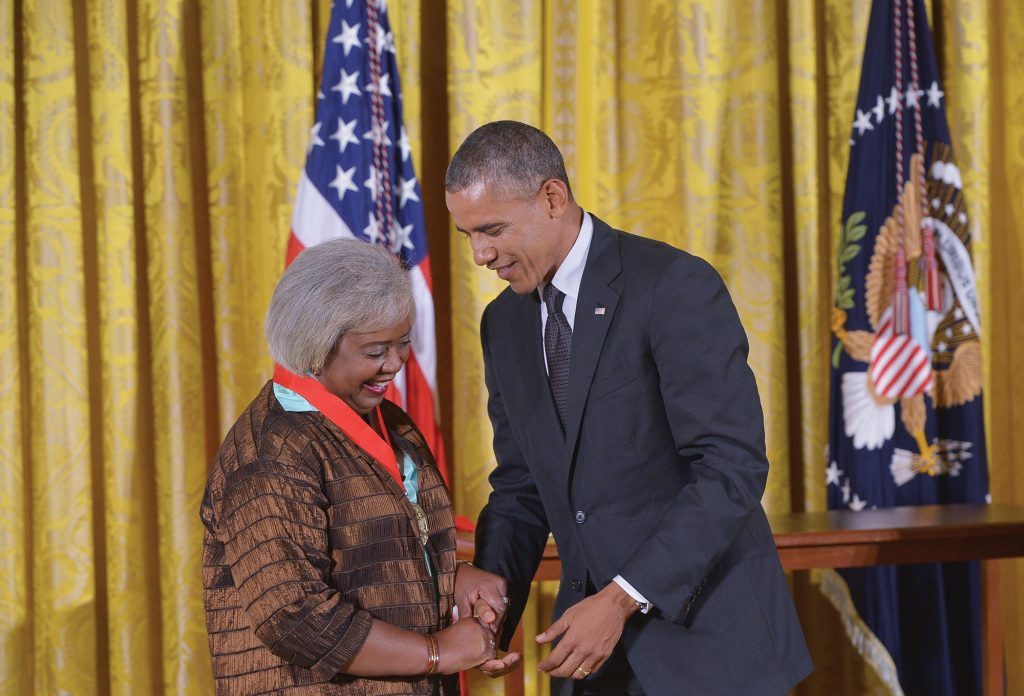 President Barack Obama presented Hine with a 2013 National Humanities Award at the White House on July 28, 2014.