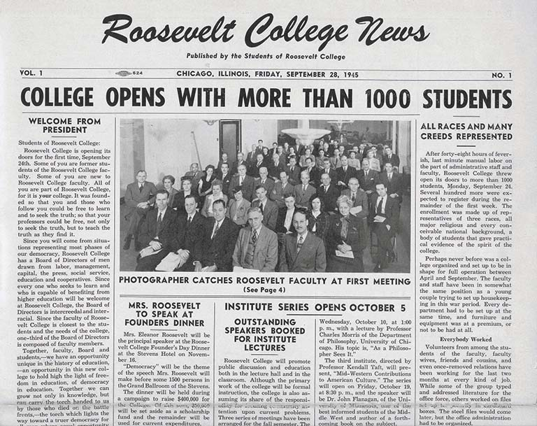 The first issue of the student newspaper.