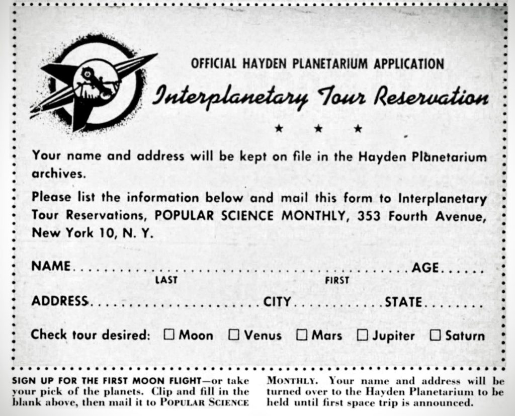 Hayden Planetarium Reservation Card