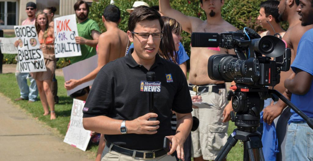 """I have my Roosevelt journalism professors to thank for preparing me well for this experience,"""" says Giacomo Luca (above), an award-winning journalist who is currently reporting for CBS/Fox affiliate KFVS-TV in Cape Girardeau, Mo."""