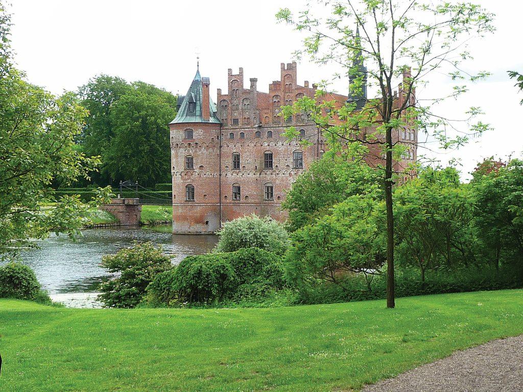 Egeskov Slot built in 1554 on Funen in Denmark