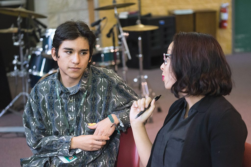 Above: Roosevelt sociology student Edgar Moreno and Mansfield's Lyly Harrington.] It can be a place where research, teaching, training and technical assistance for all kinds of restorative justice projects are housed, such as at Skidmore College in New York, which has its own Restorative Justice Project.