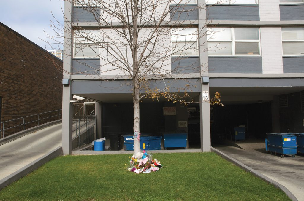 A memorial for a newborn thrown from a Chicago high-rise.