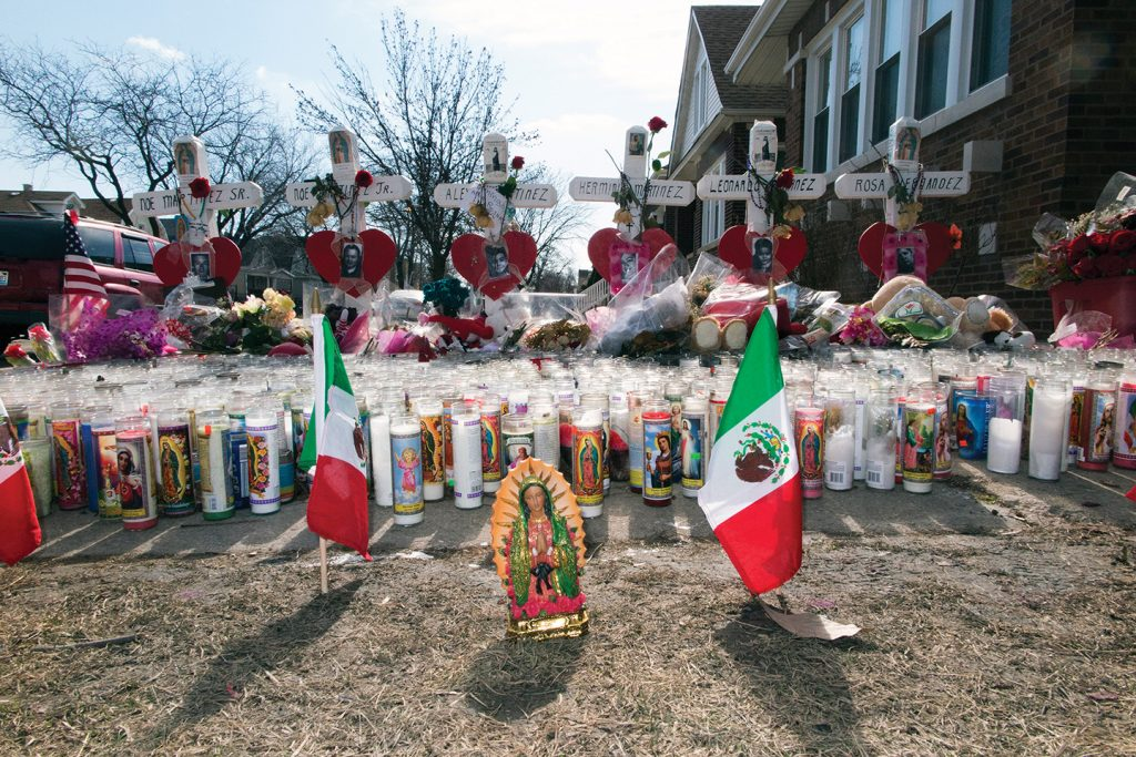 A memorial for six family members killed in Chicago's Gage Park.
