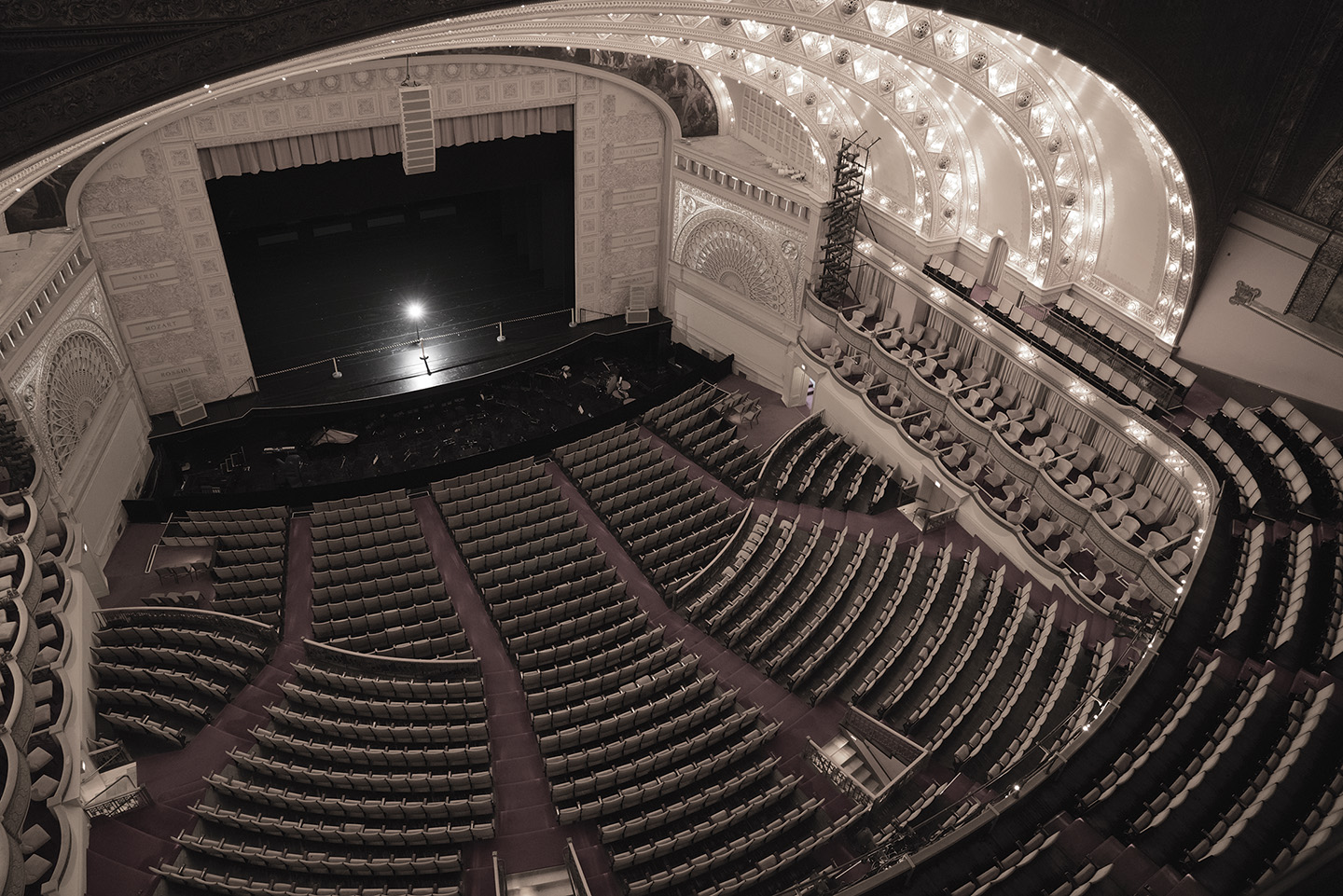 The Auditorium Theatre and its balconies have been the site of numerous ghost encounters.