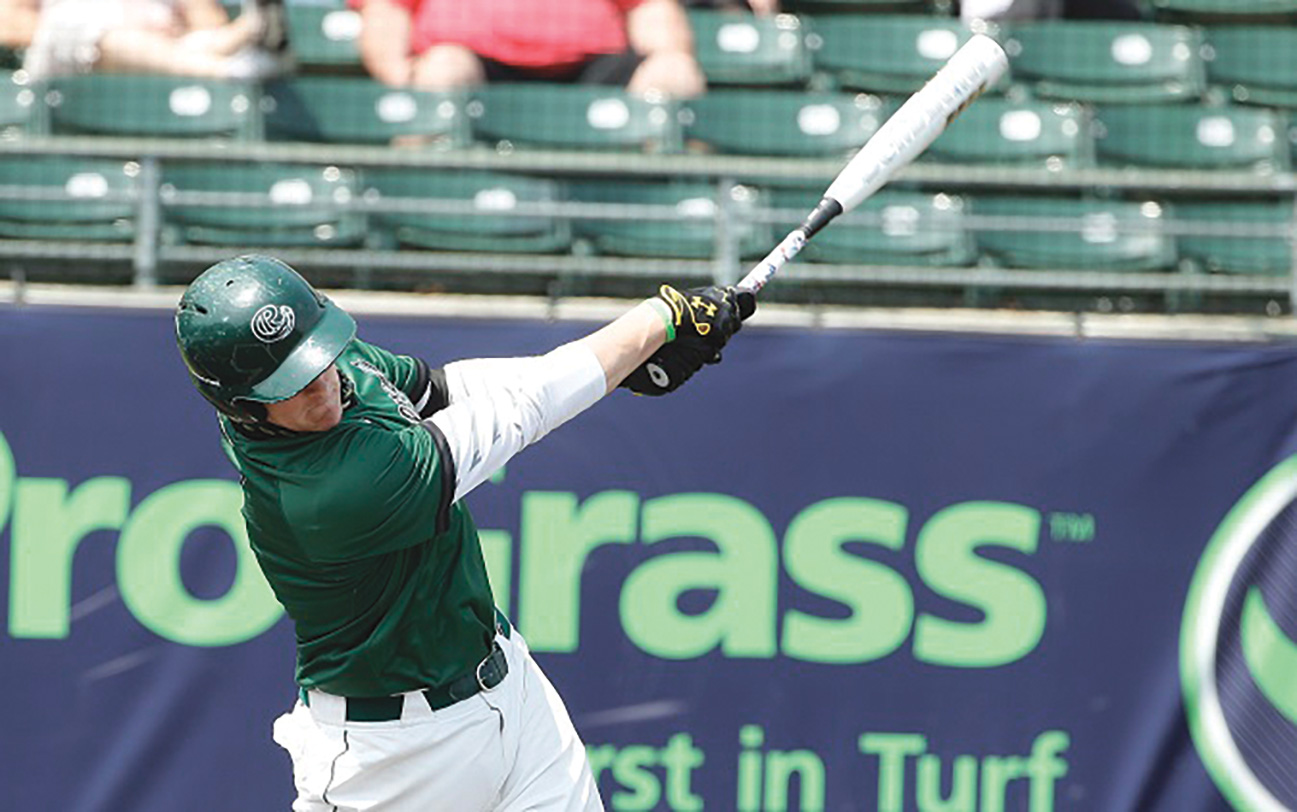 Colten Trager swinging baseball bat
