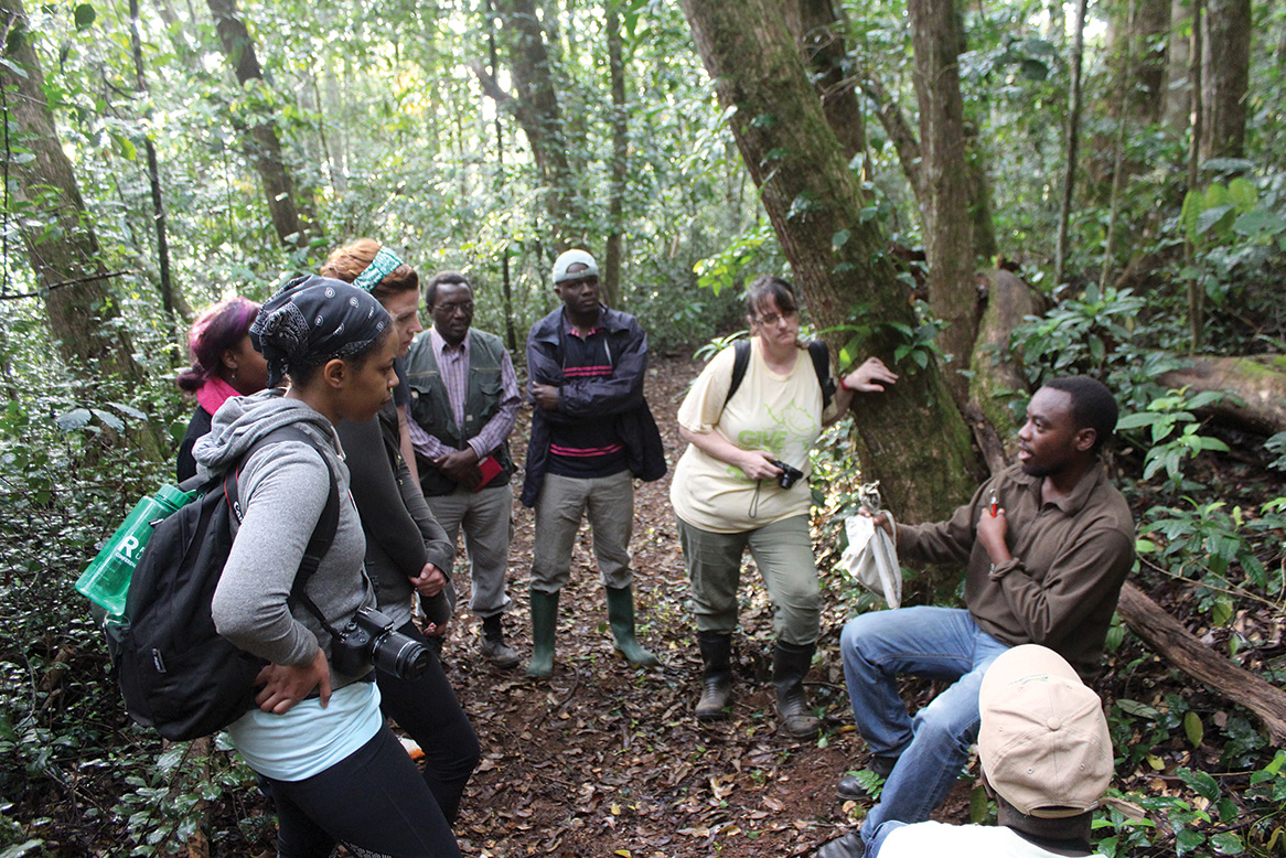 Emmanuel Mgimwa of BirdLife Tanzania demonstrates how to tag a bird for field study