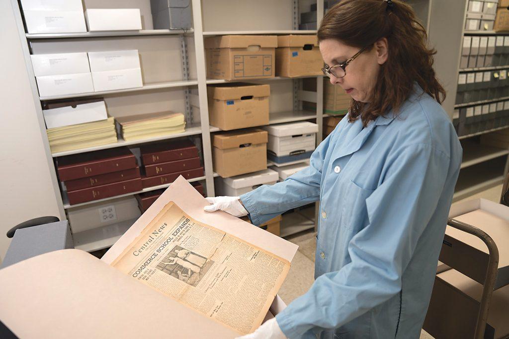 Archivist Laura Mills