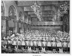 Black & White photo of Ganz Hall set-up as a banquet hall