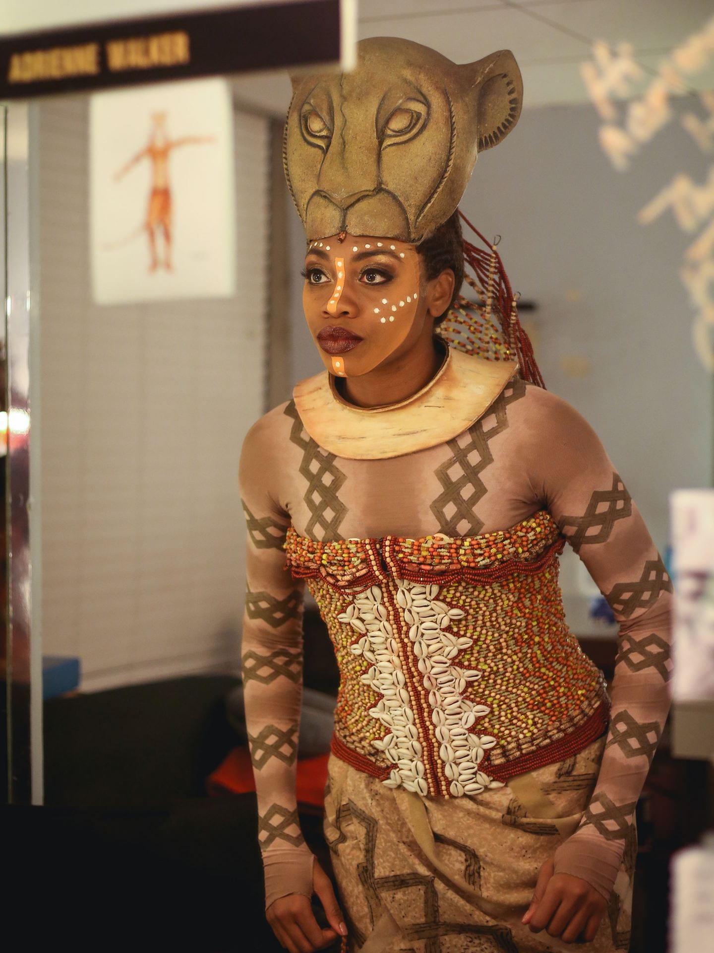Adrienne Walker as Nala backstage of Disney's The Lion King on Broadway