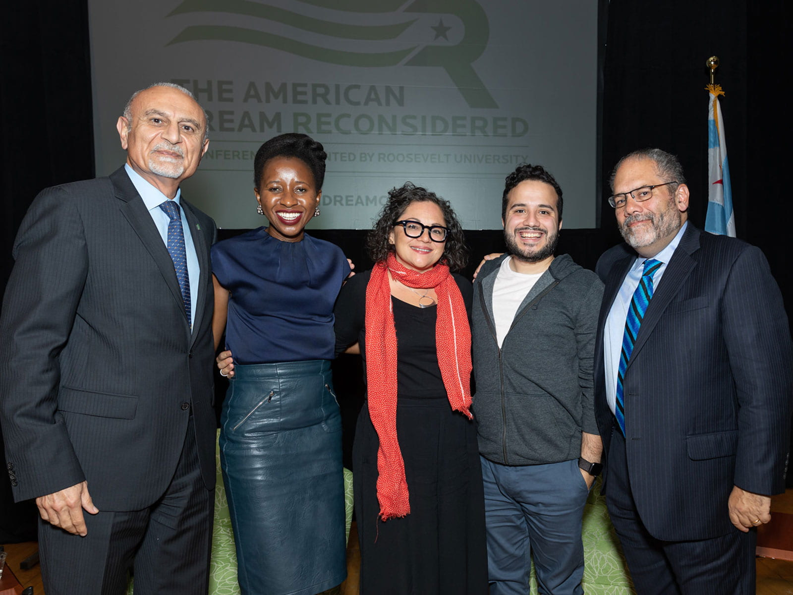 From left to right: President Ali Malekzadeh, Imbolo Mbue, Mony Ruiz-Velasco, Juan Escalante and Ray Suarez