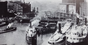 Chicago River with  Rush Street Bridge