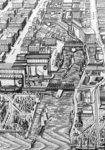 The mouth of the Chicago River in 1893. The Illinois Central serves the city's two largest grain elevators on the south bank of the river. The grain elevator further up on the north bank is served by the Chicago and Northwestern. The South Water Street Market is on the south bank. Bird's-eye Views and Guide to Chicago (Chicago: Rank, McNally & Co., 1893)