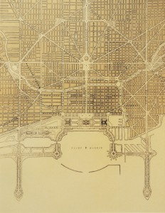 Plan of the complete system of street circulation; railway stations; parks, boulevards circuits and radial arteries; public recreation piers, yacht harbor, and pleasure-boat  priers; treatment of Grant Park; the main axis and the Civic Center. Presenting the city as a complete organism in which all its functions are related one to another in such a manner that it will become a unit.
