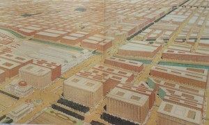 Proposed Twelfth Street Boulevard at intersection with Michigan Avenue. The proposed railway terminals are shown facing the Boulevard. Painted for the Commercial Club by Jules Guerin.