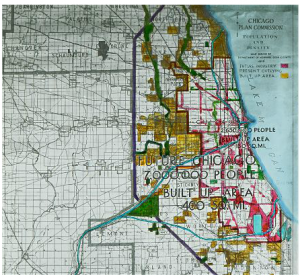 This 1919 promotional slide from the Chicago Plan Commission highlights current industrial areas in yellow and future areas in red. Future population is estimated at 7,000,000 and the built up area at 400 square miles.