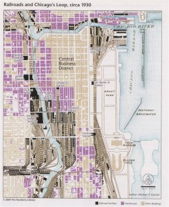 Map of Railroads and Chicago's Loop circa 1930. Planning Chicago/Newberry Library